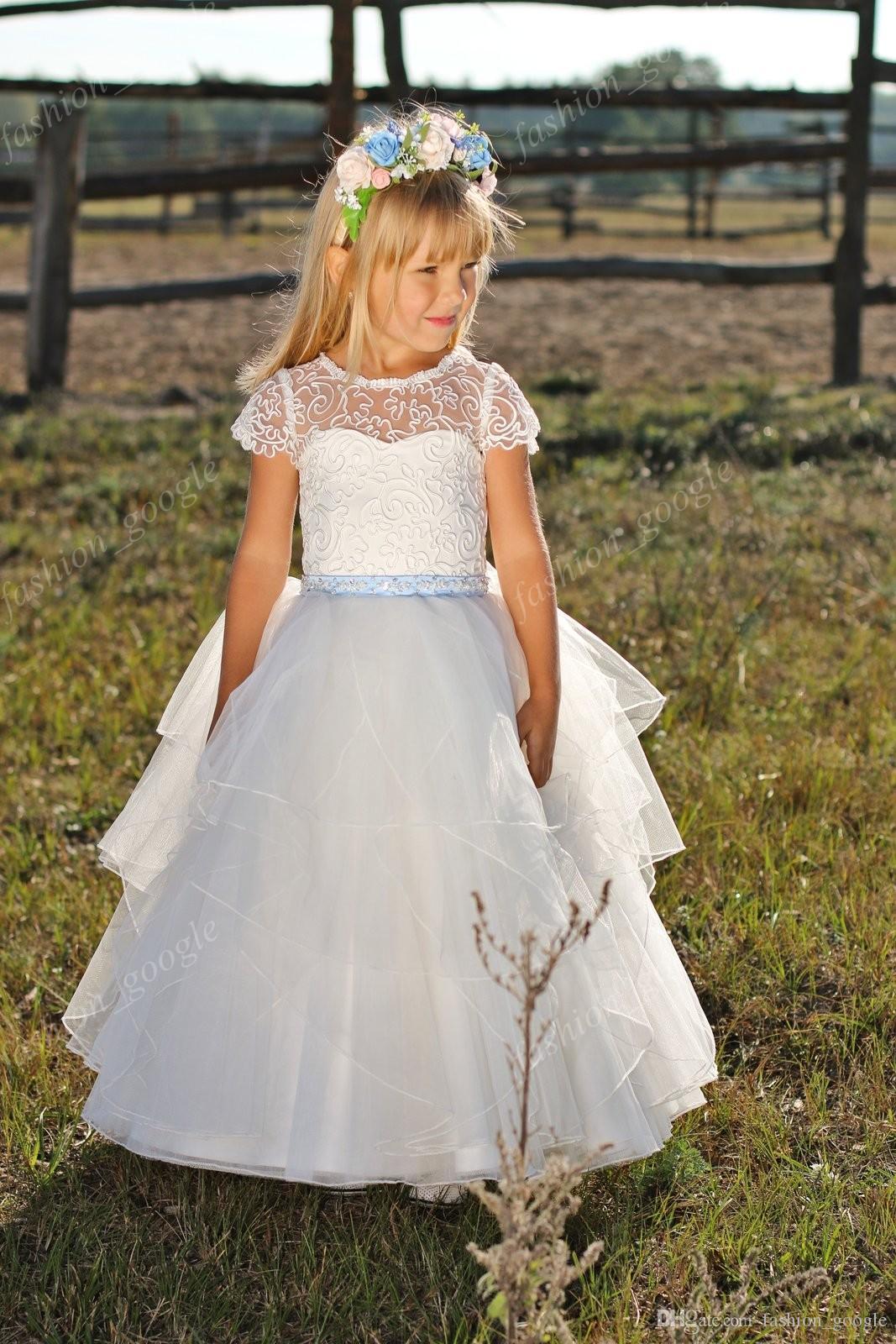 Wedding Party Holiday Bridesmaid Flower Girl Abiti avorio 2017 con maniche a cappuccio e volant Gonna Ball Gown 1st Comunione Dress for Baby