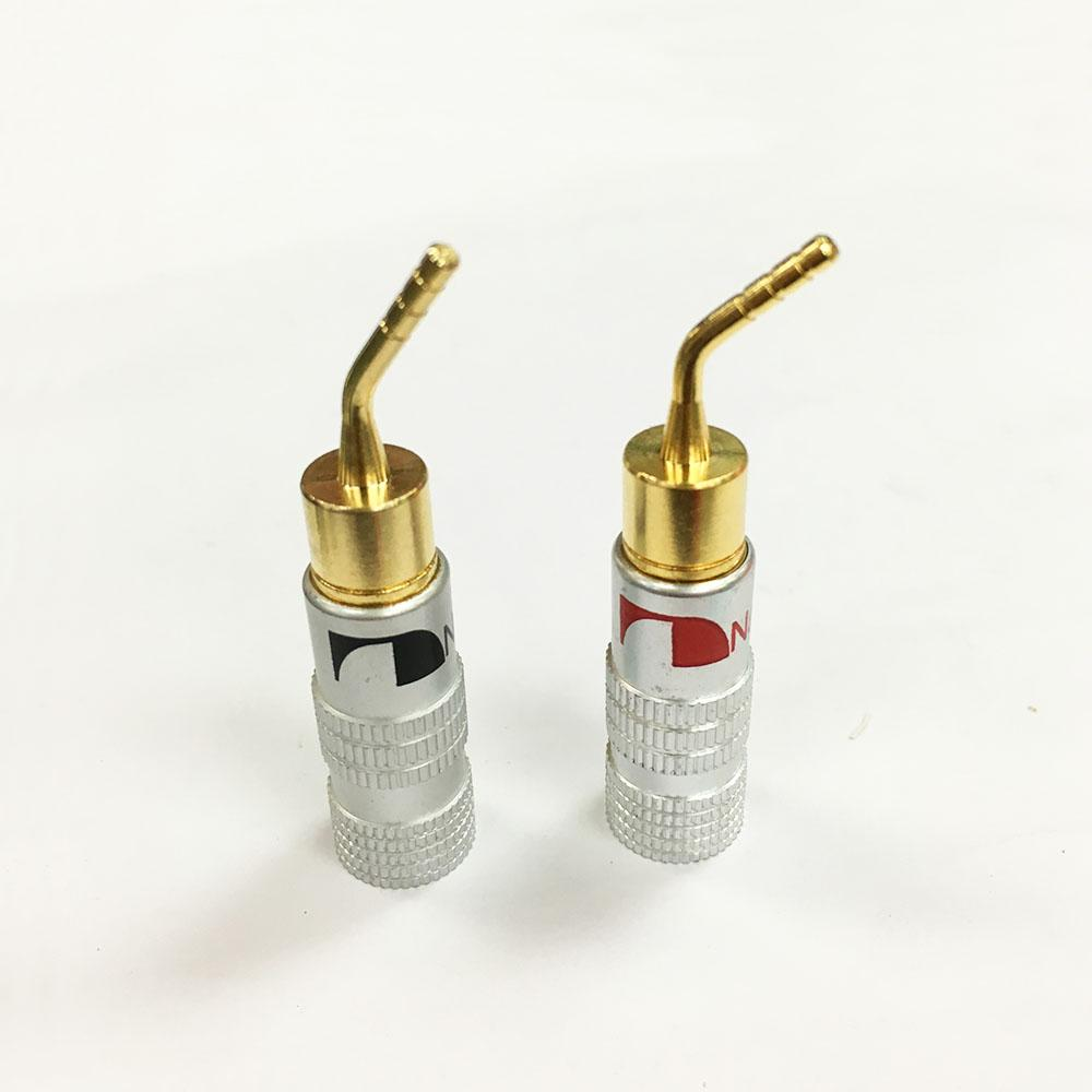 40Pcs High Quality New 24K Gold Nakamichi Speaker Pin Angel 2mm Banana Plugs Speaker wire Screw Lock Connector