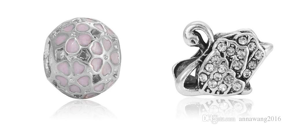 Fit Gümüş Pandora Bilezik Charms Pembe Kalp Emaye Avrupa Charm Boncuk Fit Yılan Zincir Bileklik Moda DIY Orijinal Takı