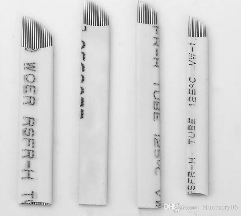 18 Pin U Şekli Dövme Için 100 Adet / grup İğneler Kalıcı Makyaj Kaş Nakış Bıçak 3D Microblading Manuel Dövme Kalem