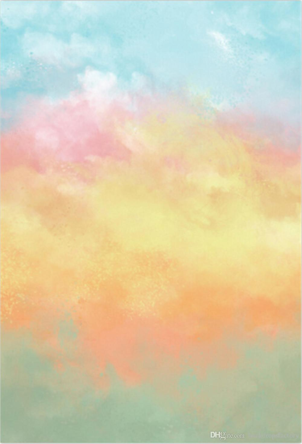 2020 Gradient Watercolor Photography Backdrops Blue Pink