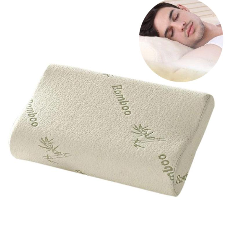 Wholesale- Top Quality Bamboo Fiber Pillow Slow Rebound Memory Foam Pillow Health Care Pillow Massager Reduce Neck Fatigue Free Shipping
