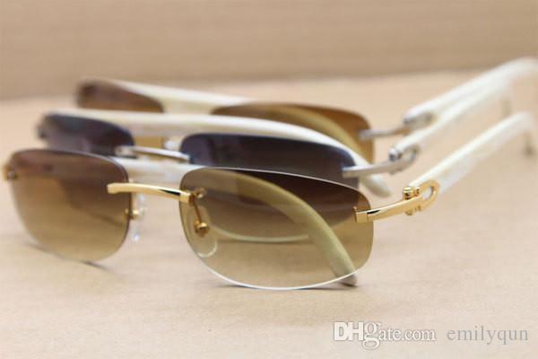 Berühmte Marke Sonnenbrille Weiße Büffel Horn Gläser Sonnenbrille Mode Randlose Sonnenbrille Real Nature Horn Sonnenbrille 3524011 Hohe Qualität