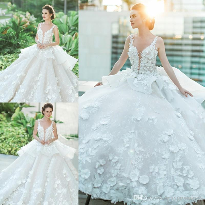 White Lace Appliques Ball Gown Wedding Dresses 2017 Spring Summer ...