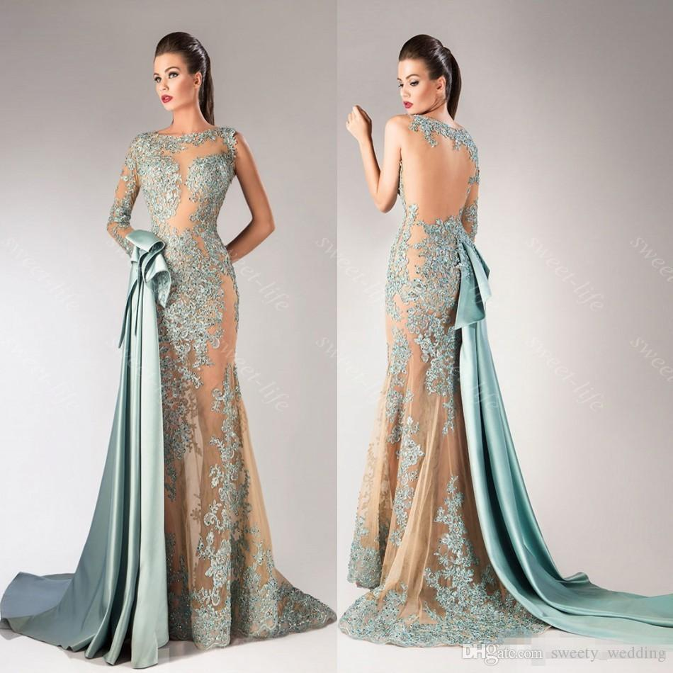 2016 Sexy Mermaid Hanna Toumajean Prom Dresses Illusion Long Sleeve Sheer Neck Applique Evening Gown Formal Pageant Party Queen Dress Custom