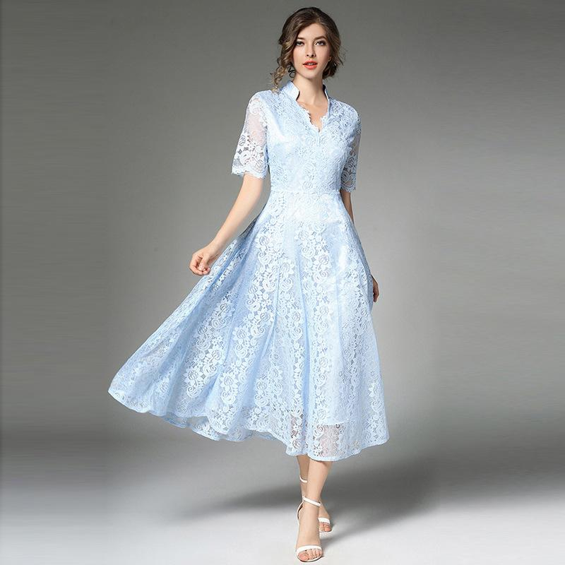 82153e71d Compre Elegante Vestido De Encaje Vintage Sólido Delgado Mujeres Vestidos  De Noche Verano De Gama Alta Manga Corta Hueco Abierto Grande Swing Vestidos  De ...