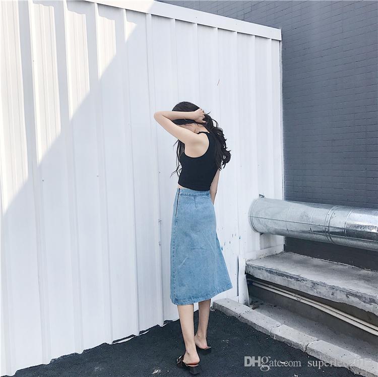 New Chic Moda Feminina Denim Do Vintage Saias Longas Dividir Bordado Saias com Bolsos Zíper Lateral Chique Luz Azul Saias JHJ
