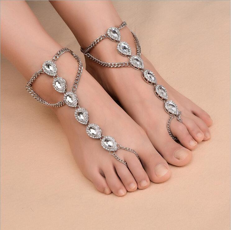 Jewelry & Watches Crystal Rhinestone Ankle Bracelet Women Anklet Chain Foot Beach Jewelry