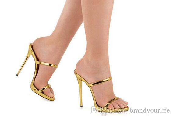 2017 New Two Thin Strappy Sandals Slipper High Heels Gold Silver Leather Gladiator Sandals Women Slides Shoes Woman Sandalias Mujer