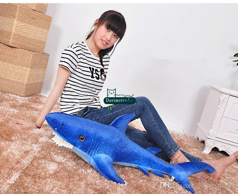 Dorimytrader 115cm Big Plush Sea Animal Shark Plush Toy 45'' Giant Soft Simulated Sharks Stuffed Pillow Doll Kids Gift DY61409