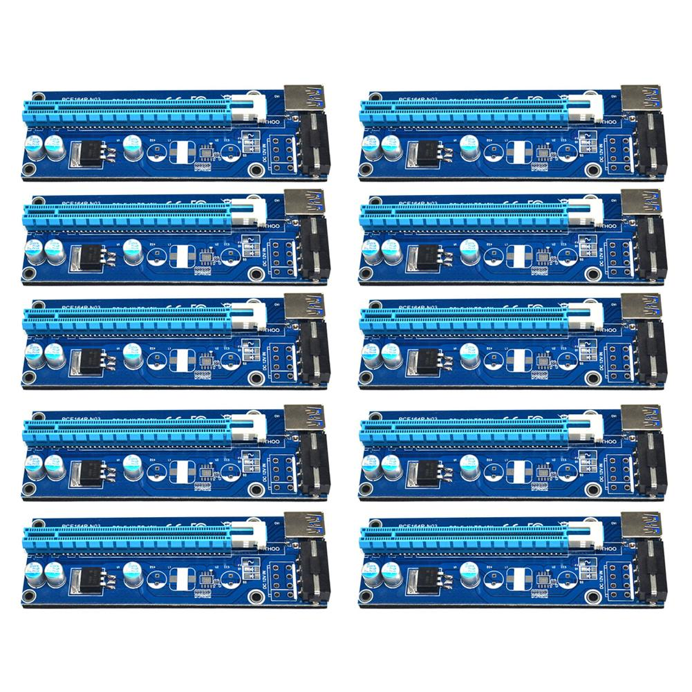 Freeshipping 10pcs 60cm USB 3.0 PCI-E PCI Express 1x to 16x Extender Riser Card with SATA 15pin to 4pin Power Cable for Bitcoin Miner