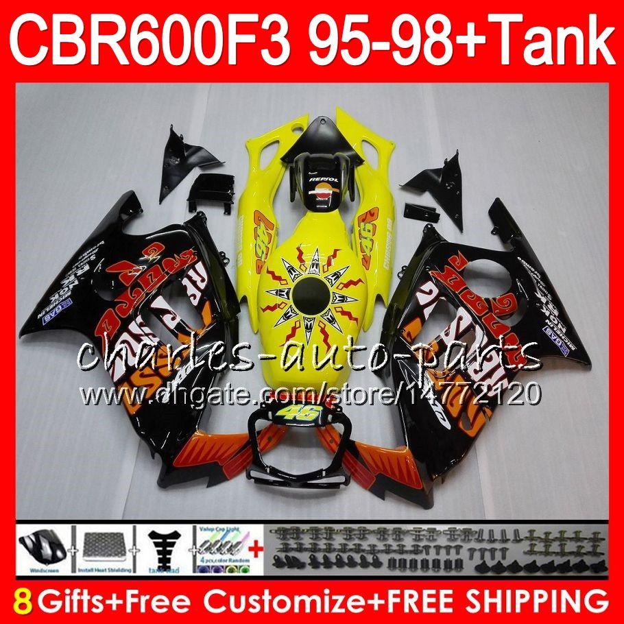 8 Gifts For HONDA CBR600F3 95 96 97 98 CBR600RR FS Repsol yellow 2HM7 CBR600 F3 600F3 CBR 600 F3 1995 1996 1997 1998 black Fairing