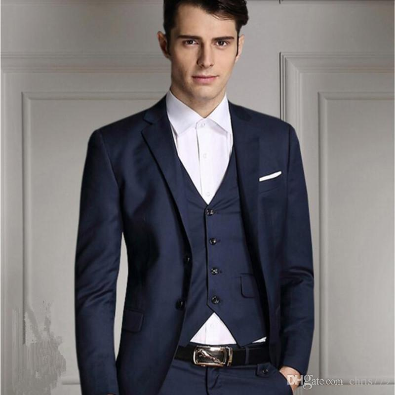 The Latest Design Groom Wedding Suits Solid Color Men Suits High