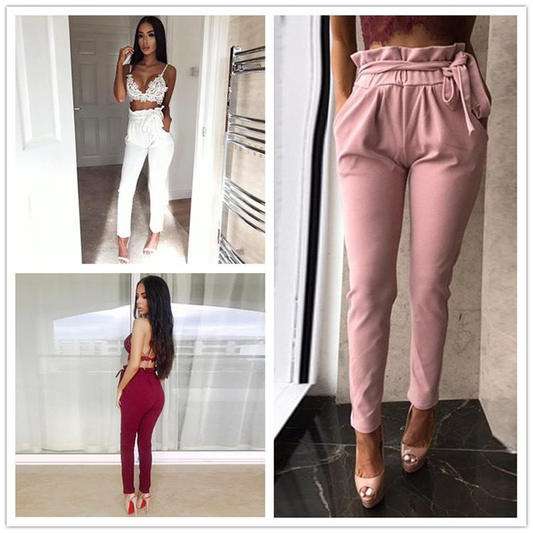 f9235296965321 2019 Women OL Chiffon High Waist Harem Pants Bow Tie Drawstring Sweet  Elastic Waist Pockets Casual Trousers Pantalones DZY170723 From Yuyuyu2010,  ...