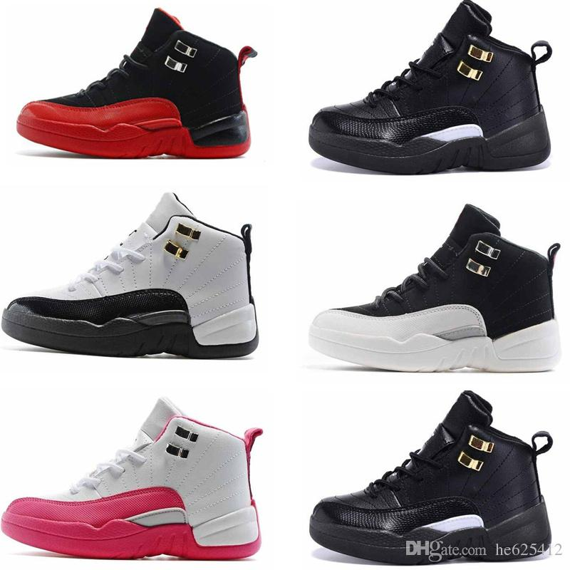 2bac1f0d7dd44b Boy   Girls 12s Flu Game Infant Basketball Shoes Kids French Blue Master  Playoff Children Athletic 12s Sports Toldder Sneaker Running Shoes Sale Kids  Water ...