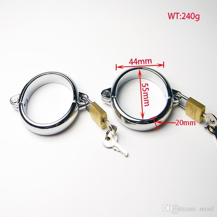 Newly Alloy Chastity Devices Restraint Sex Slave Wrist Ring with Lock BDSM Hands cuffs Bondage Adult Sex Toy For Couples