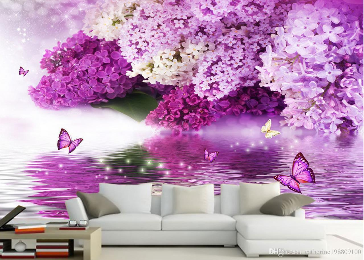 Photo Customize Size 3d Classic Home Decor Purple Flower Water Language Reflection Butterfly Background Wall High Definition Wallpapers Free