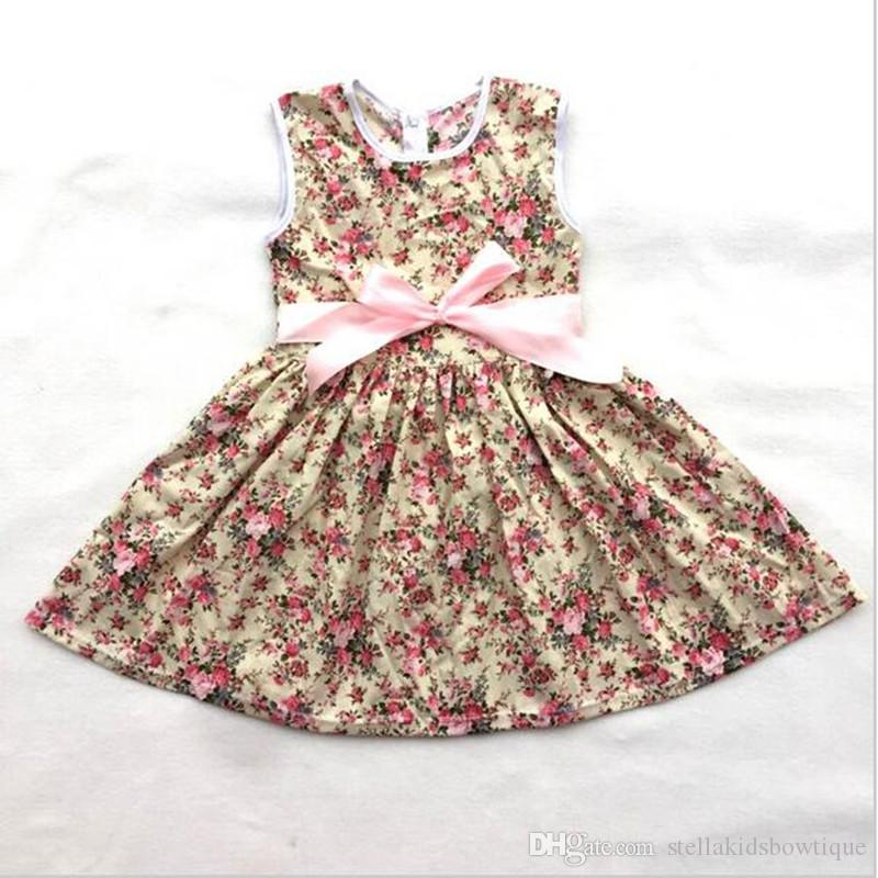 Ivory Floral Baby Girls Dress O-neck Sleeveless Rustic Girls Outfit Dress Pattern with Satin Bow Boho Girls Party Clothing
