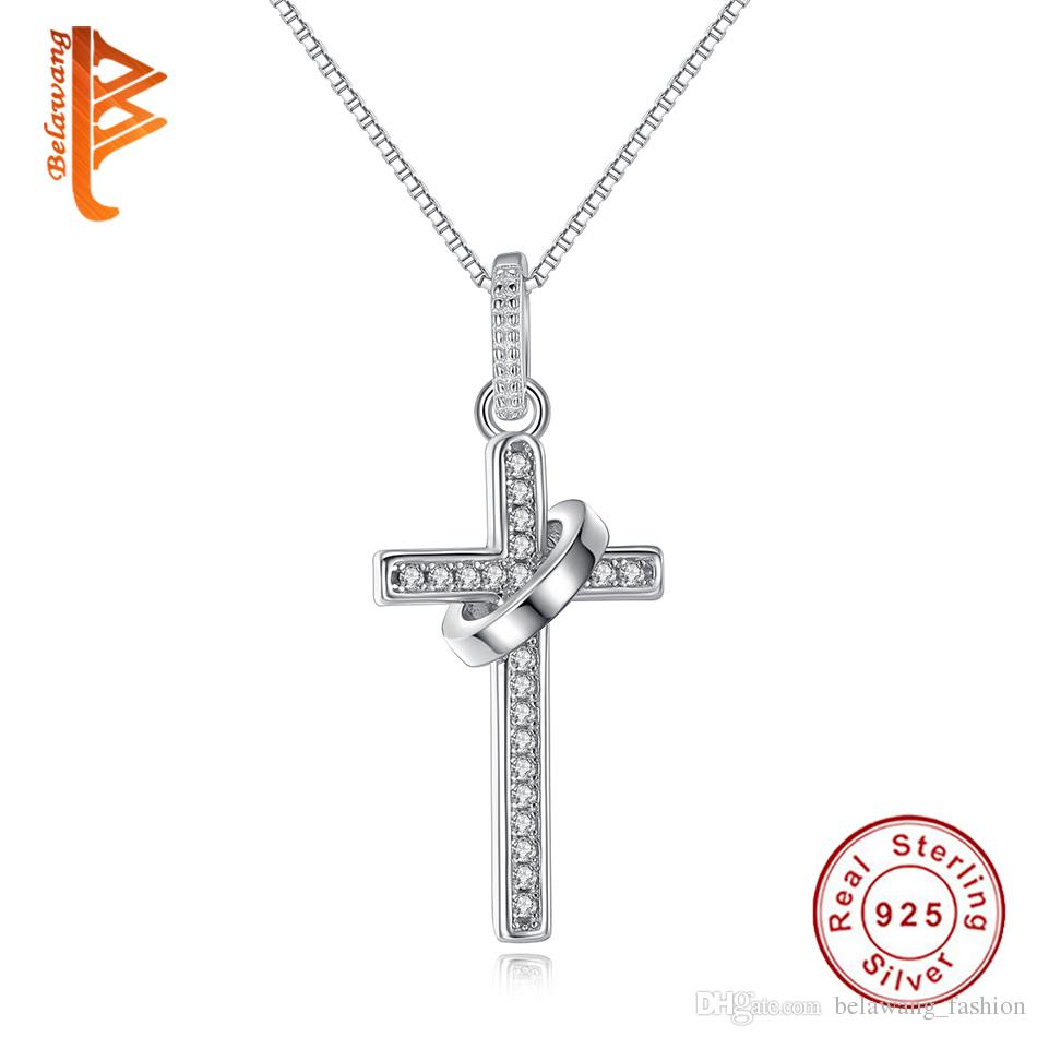 c08d48fdd0101 BELAWANG 925 Sterling Silver Cross Shape Necklaces Pendants With ...