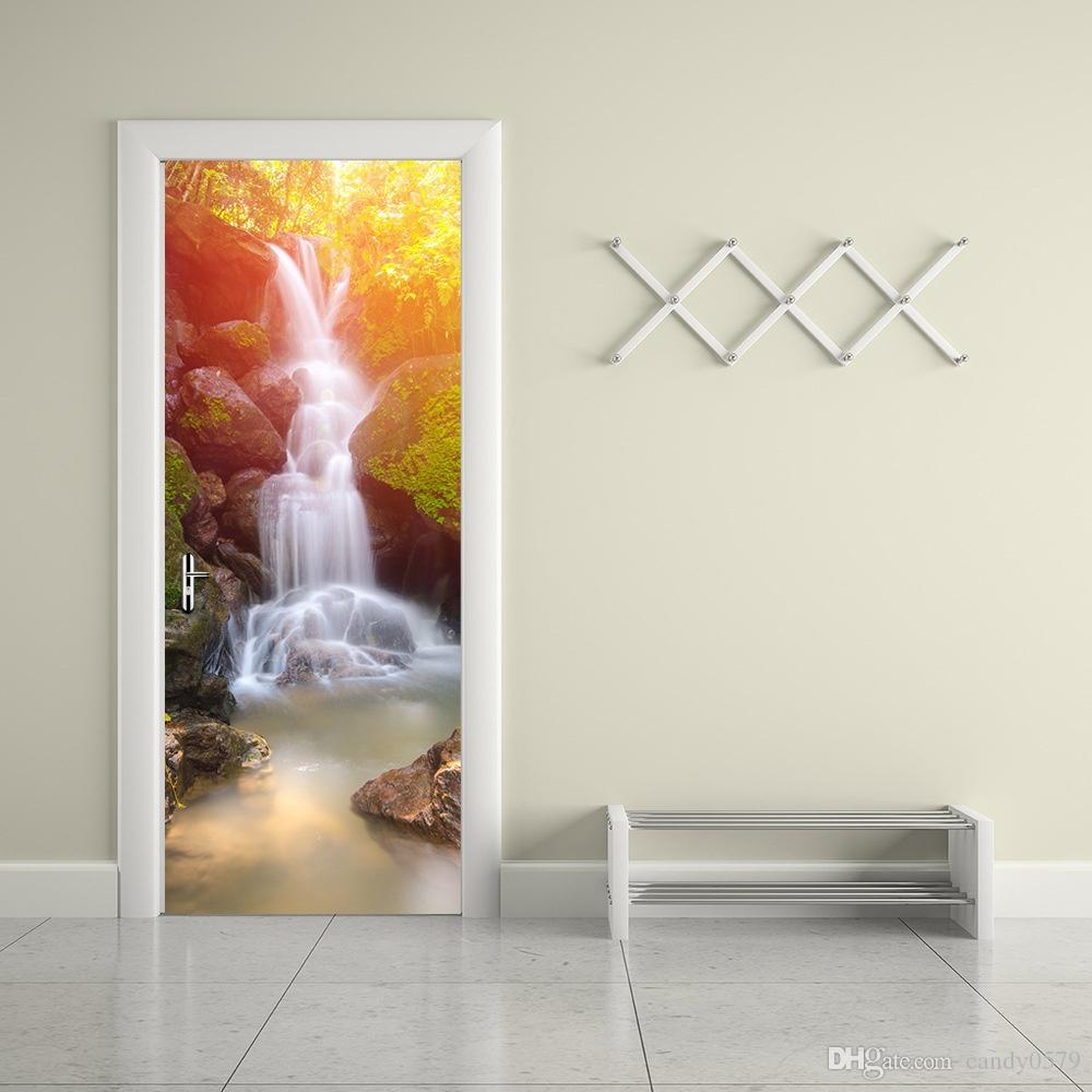 The Forest Waterfall Door Stickers 3d Pvc Self Adhesive Wallpaper  Waterproof Door Decoration Tree Wall Art Stickers Tree Wall Clings From  Candy0579, ...