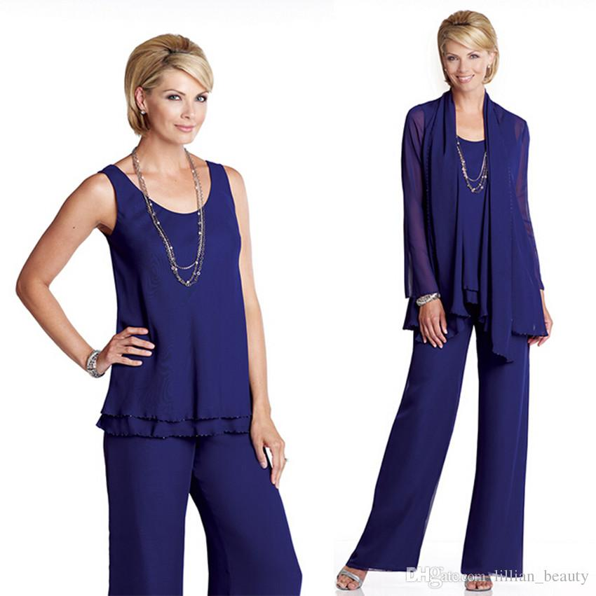 Stunning Chiffon Mother Of The Groom Bride Pant Suits Lady