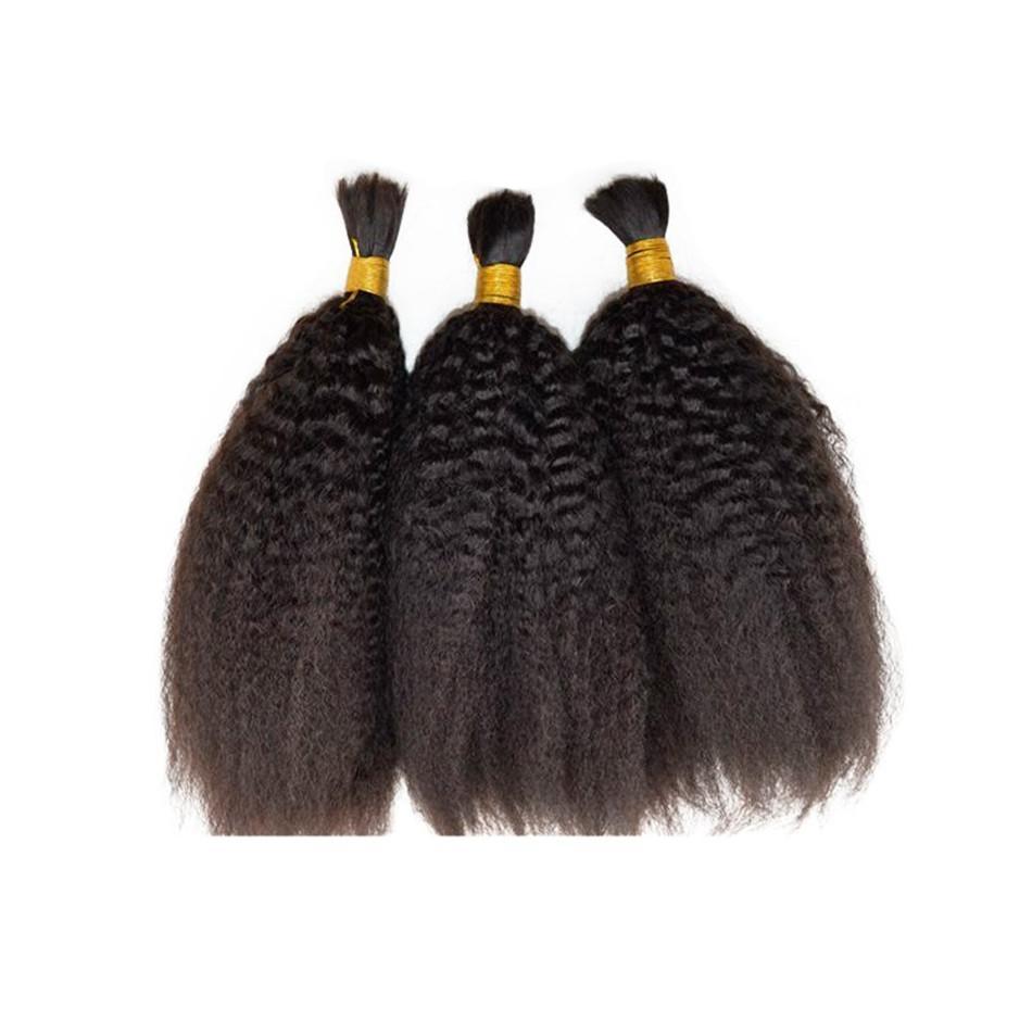 Human Hair Bulks for Braiding Peruvian Kinky Straight Hair Natural Color Bulk Hair Extensions FDSHINE