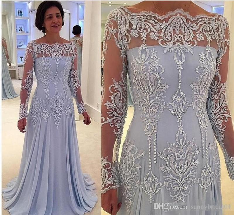 Elegant Long Sleeves Mother of Bride Groom Dresses With Lace Appliques Sheer Neck Long Sleeves Mother Evening Dress Chiffon Prom Dress