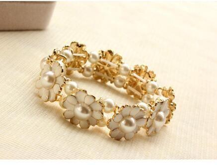 Daisy Perle Pétale Élastique Bracelet Esthétique Fleur Bracelet DHL Stretch Anneaux Femelle Lien Bracelet Bijoux Accessoires Cadeau De Noël