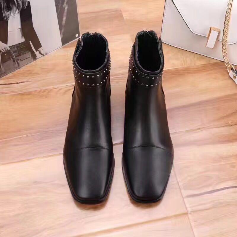 high quality~u751 40 black genuine leather square toe flat short boots b