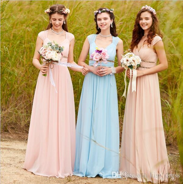 Cap Sleeve Chiffon Bridesmaid Dresses V-Neck Rhinestone Pleats A-Line Floor Length Elegant Wedding Evening Party Gowns 2019 Hot Sales B71