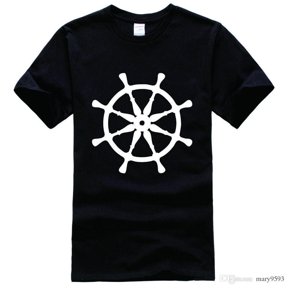 Ship Wheel Print Nautical Printed Religion Swag Printed Tee Shirt