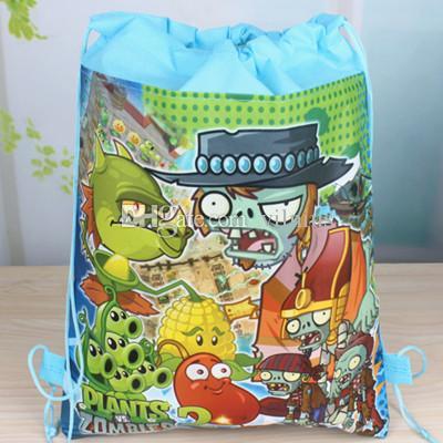 New Plants vs Zombies Drawstring Boys Girls Cartoon School Bag Children Printing School Backpacks for Birthday Party Gifts