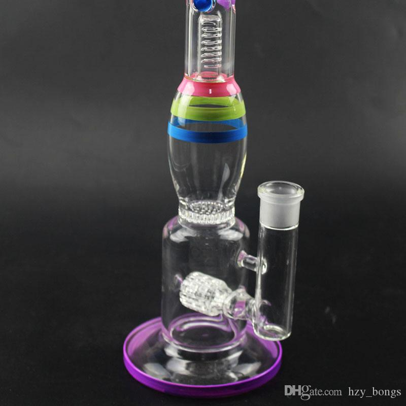 2019 Tall Glass Bong Colorful Three layers Honey comb Perk glass water pipe recycler glass bong big Water bongs 18.8mm joint