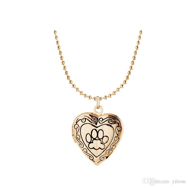 Photo Frame Memory Locket Pendant Necklace Silver/Gold Color Mother's Day Gift Pet Cat Dog Paw Footprint Pendant Chain Jewelry For Child