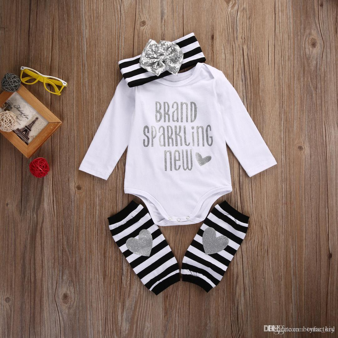 Baby Boy Girl Leg Warmer Bow Headband Casual Outfits Summer Clothes Sets Romper