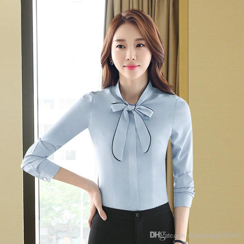 fd3e080d191 2019 Women Blouses Fashion Bow Tied Neck Shirt Long Sleeve Work Tops Shirts  Vintage New Chiffon Blouse Female From Donnatang240965
