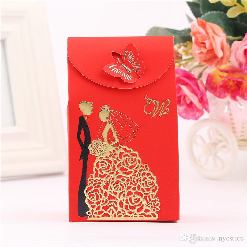 50 unids Cajas de Caramelo Rectángulo Rojo Suministros de Boda Favor Regalos de Papel para Mariage Decoración