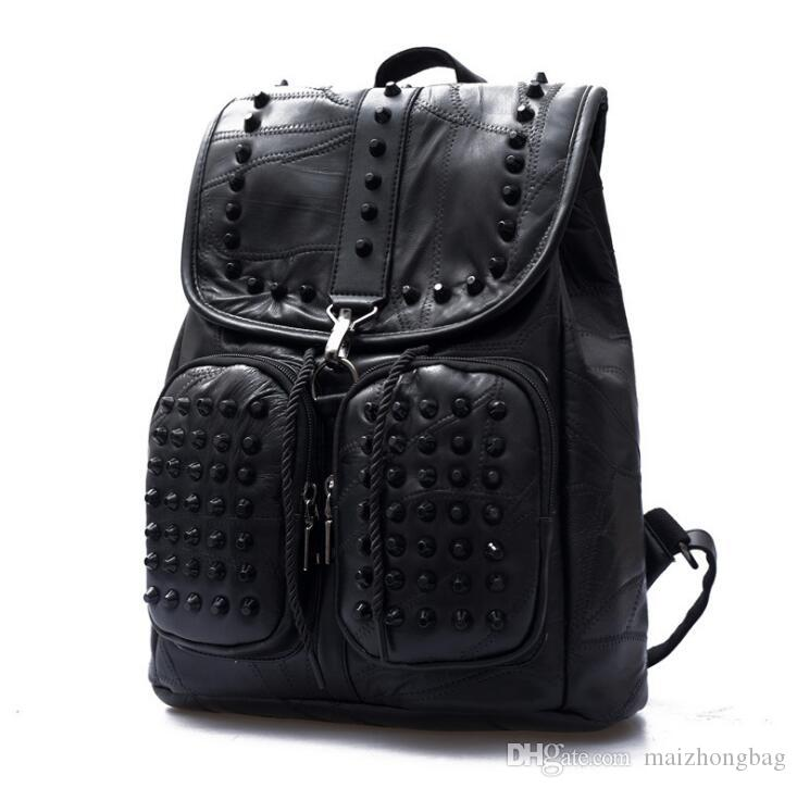 Pure Black Genuine Sheepskin Leather Women Shoulders Backpack Rivet ... 8c9e8a39eae12