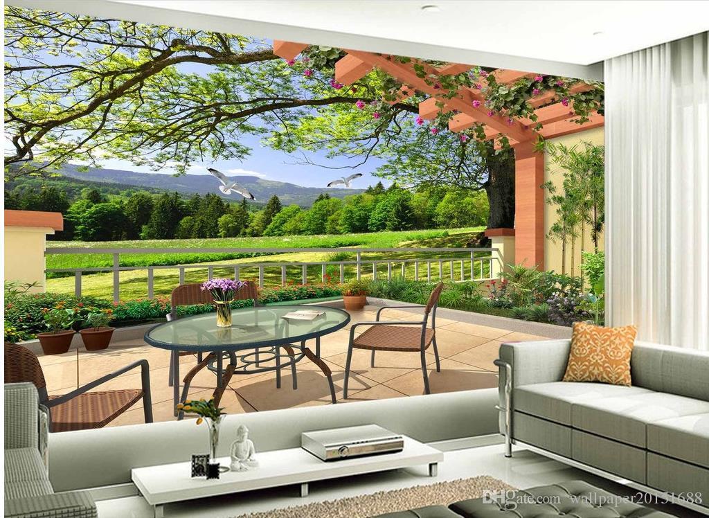 decoração decoração moda para paisagem 3D quarto tridimensional pintura vivendo parede da sala de TV
