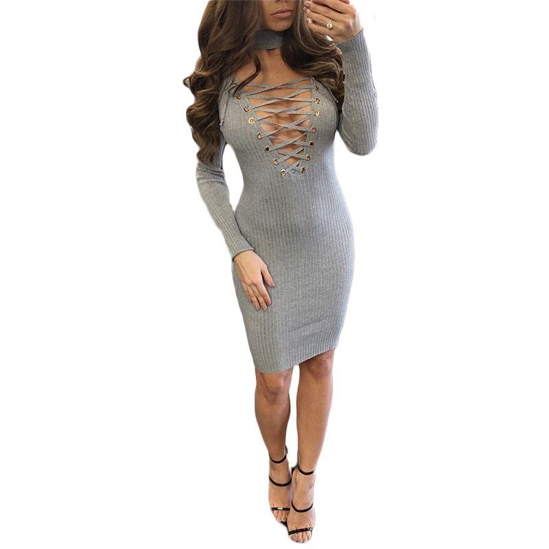 ef31df1451d 2017 Spring New Brief Women s Long Sleeves Mini Pencil Dresses Stylish Sexy  Deep V Neck Black Grey Lace Up Bandage Dresses S8225 Long Sleeves Mini  Pencil ...