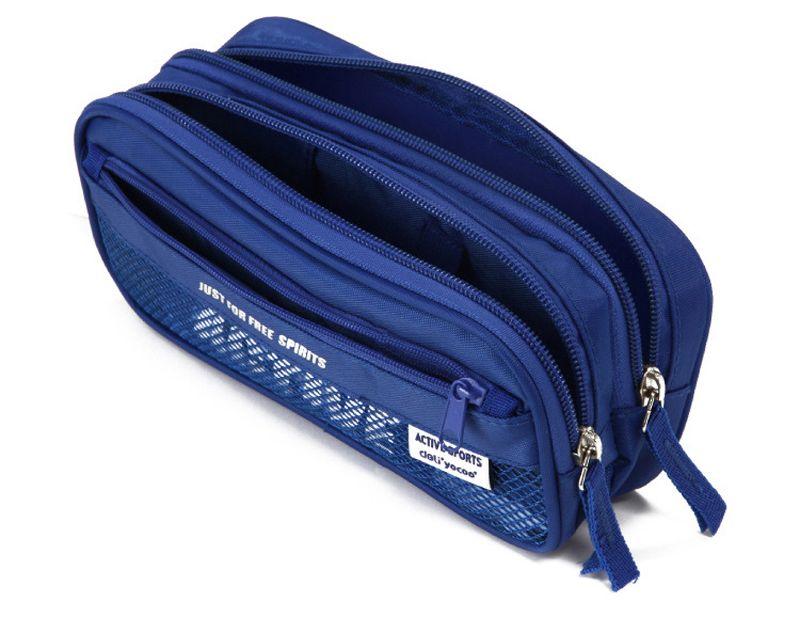Zipper Pencil Case Box Bag - Black Blue Multifunction Kids Children Student Pen Storage Pouch - School Office Supplies