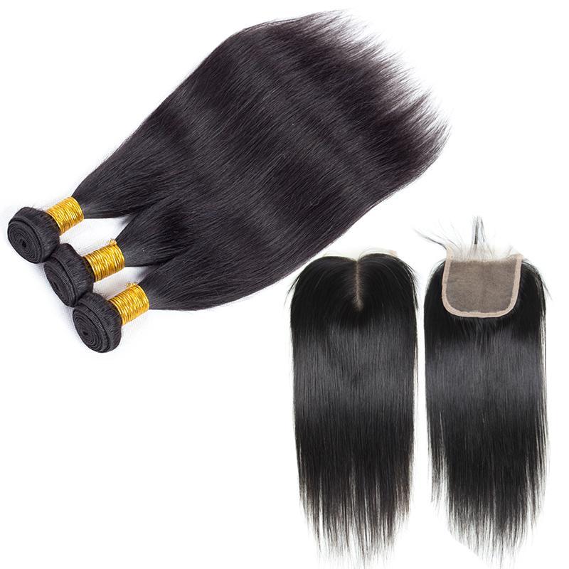 Cierre superior de encaje con 3 paquetes de cabello brasileño Pelo humano peruano de la Virgen peruana camboyana malaya peruana teje y cierra