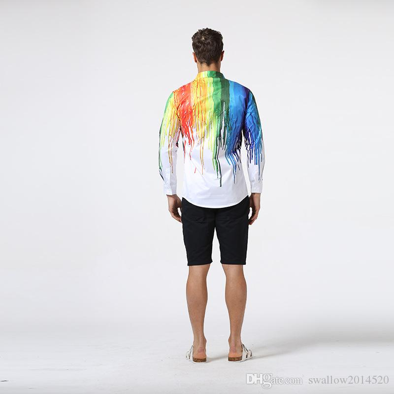 3D Slim Plus Size Man Fashion Shirt Pattern Design Long Sleeve Paint Color Print Slim Fit man Casual Shirt Men Dress Shirts