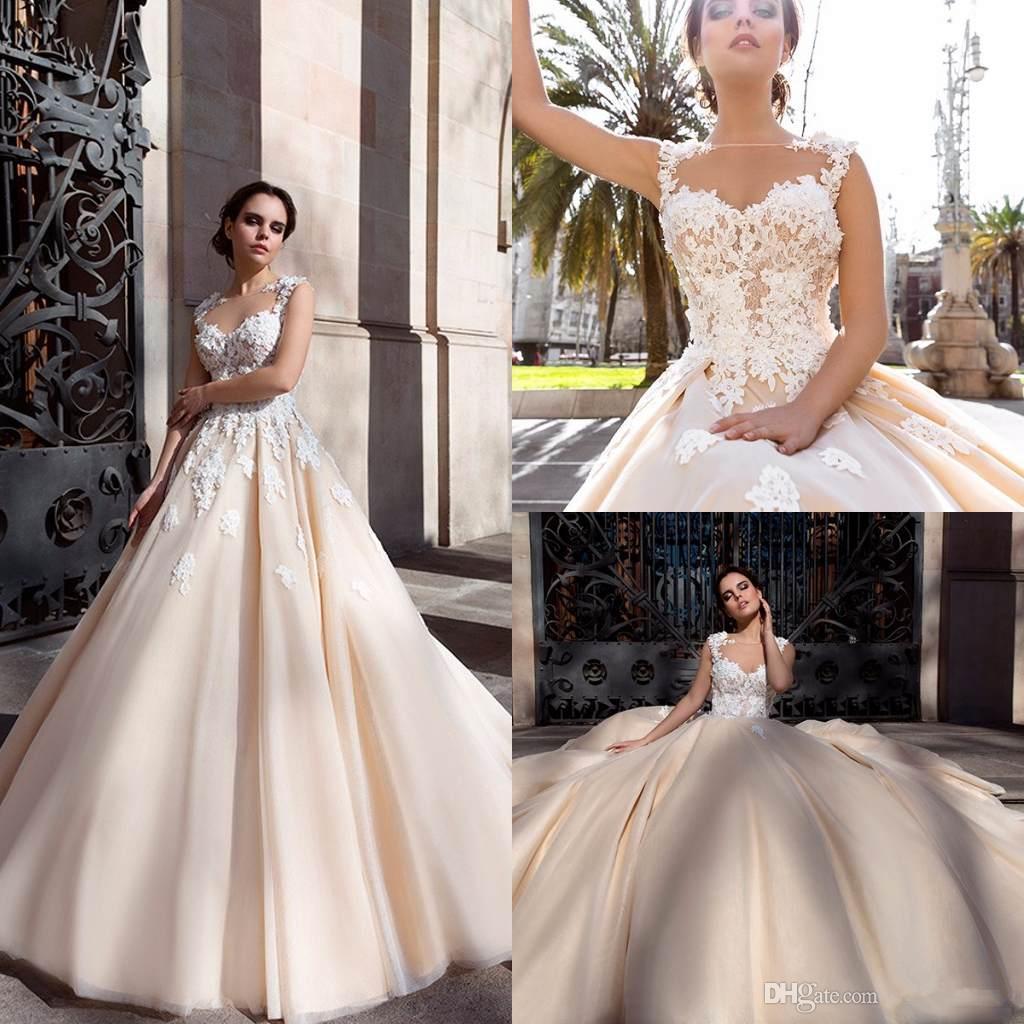 2019 New Vintage Bateau Lace Appliques A Line Wedding Dresses Custom ... eb90de589d8c
