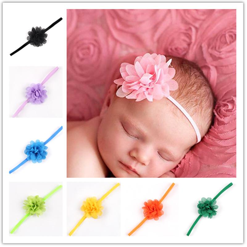 Wholesale newborn baby girls satin ribbon flower headbands photography props infant baby headband children accessories wholesale hair accessories buy hair