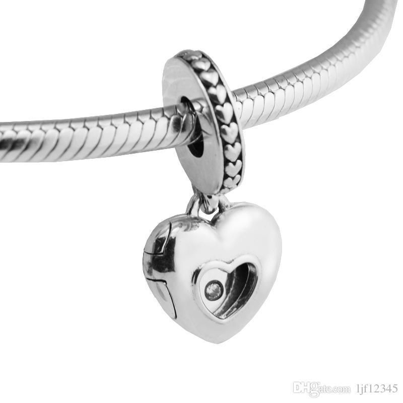 925 Sterling Silver Jewelry Club Charm Diamond Beads Heart Colgante Fit Pandora Pulsera Collar para mujer haciendo encantos
