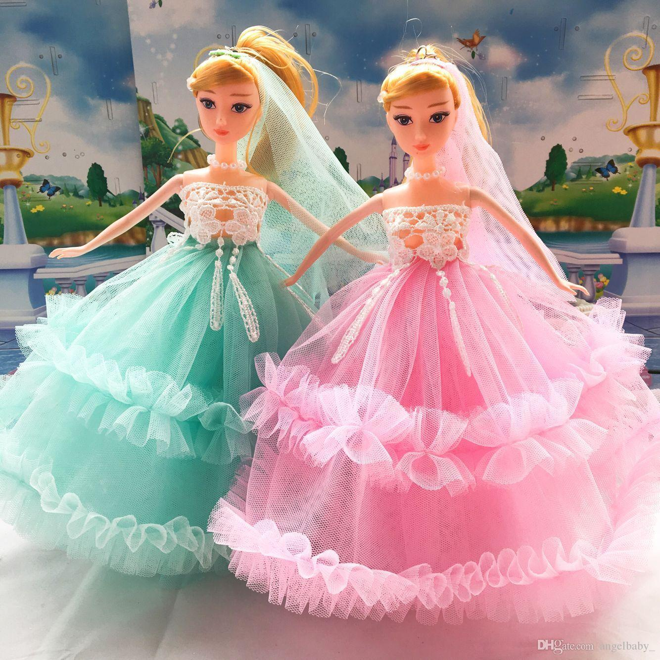 2017 New Girl Gifts Barbie Doll Wedding Dress Lace Birthday Present Creative Presents Clothes From Angelbaby 2262