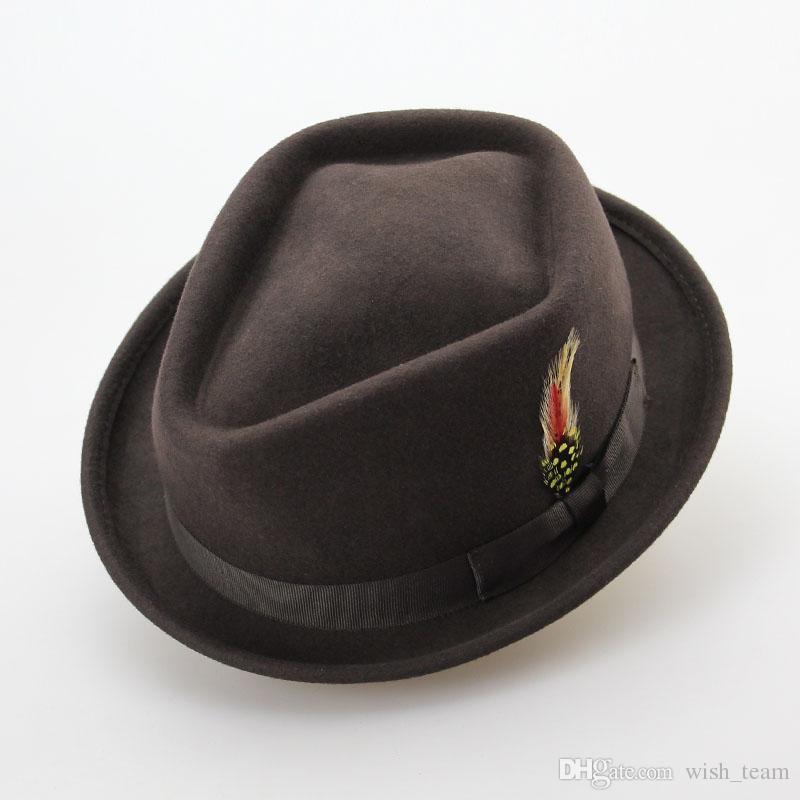 Retro Lã Australiano Sentiu Homens Jazz Chapéu de Inverno 60 CM Floppy Feather Chapéu Arco Fino Moda S M Grande Tamanho Masculino Chapéu de Lã