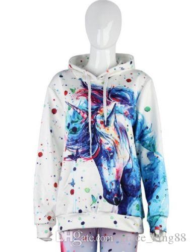 Autumn Winter Top quality Womens Long Sleeve colors Watercolor unicorn Hoodies sweatshirt Jumper pullover hoody Tops Blouse Coat M-2XL
