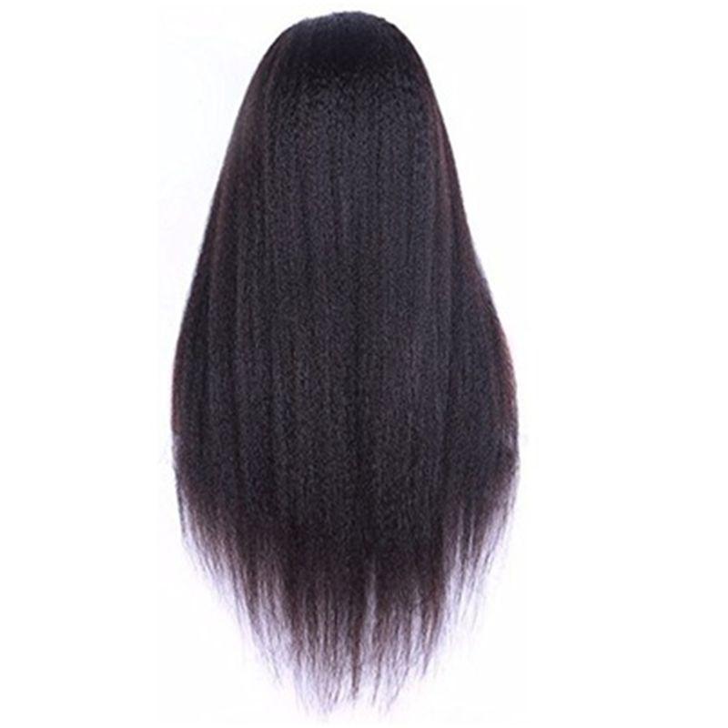 Natürliche Farbe Full Lace Verworrene Gerade Vordere Spitze Haar Yaki Perücken Für Frauen Haar Perücken 180% Hohe Dichte Gute Qualität